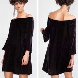 Zara Off Shoulder Black Bell Sleeve Velvet Dress